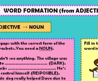 Word Formation (from Adjective to Noun or Verb)