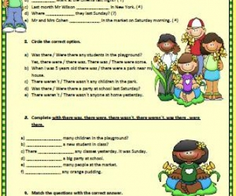 Was or Were? Simple Past Elementary Worksheet