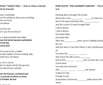 Song Worksheet: 2 Songs [Coldplay/Pink Floyd]