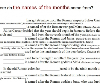 Where Do the Names of the Months & Days Come From?