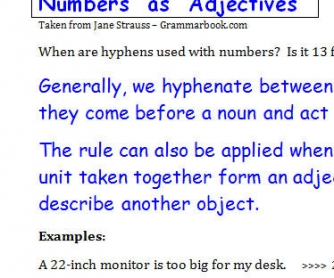 Numbers as Adjectives