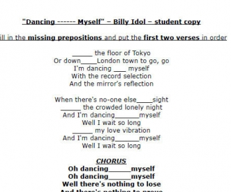 Song Worksheet: Dancing With Myself by Billy Idol
