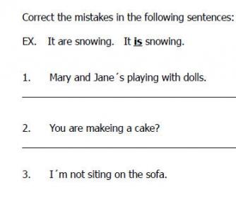 Grammar Errors in Present Continuous, Comparative/Superlative Sentences