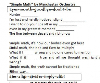 Song Worksheet: Simple Math by Manchester Orchestra