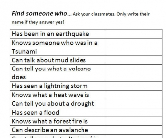 Disasters: Find Someone Who