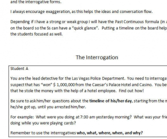 Interrogation: Past Continuous Role Play