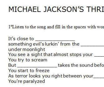Song Worksheet: Thriller by Michael Jackson