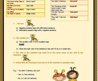 Tag Questions Elementary Worksheet
