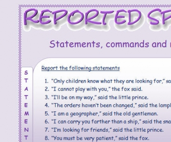 Reported Statements, Commands and Requests: Practice