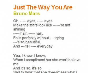 Song Worksheet: Just The Way You Are by Bruno Mars [Alternative]