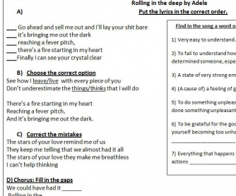Song Worksheet: Rolling In The Deep by Adele (Version IV)