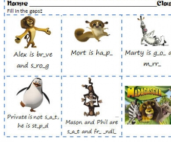 Cartoon Worksheet: Madagascar [Describing Characters]