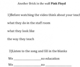Song Worksheet: Another Brick in the Wall by Pink Floyd