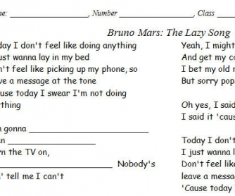 Song Worksheet: The Lazy Song by Bruno Mars [Alternative]
