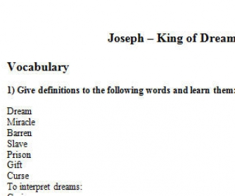 Cartoon Worksheet: Joseph - King of Dreams