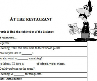 Eating Out Worksheet: At The Restaurant