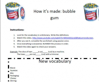 Video Worksheet: How It's Made [Bubble Gum]