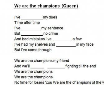 Song Worksheet: We Are The Champions by Queen [Alternative]