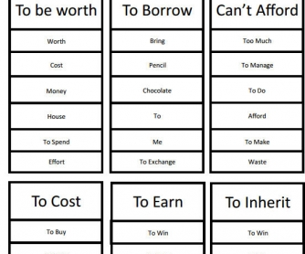 Taboo Game with Money Vocabulary