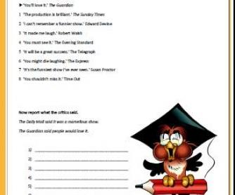 Reported Speech Intermediate Worksheet II