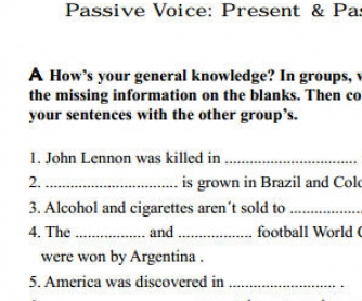 Passive Voice Worksheet: Present and Past