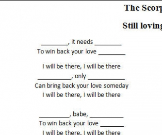 Song Worksheet: Still Loving You by The Scorpions