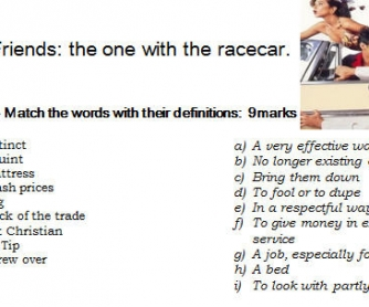 Friends: The One With The Race Car [Season 3 Worksheet]