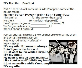Song Worksheet: It's My Life by Bon Jovi