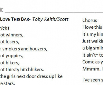 Song Worksheet: I Love This Bar by Toby Keith