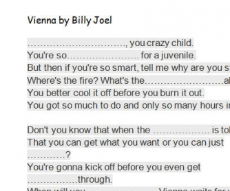 Song Worksheet: Vienna by Billy Joel