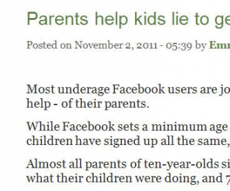 Parents Help Kids Lie To Get On Facebook: Authentic Reading Worksheet