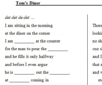 Song Worksheet: Tom's Diner by Suzanne Vega