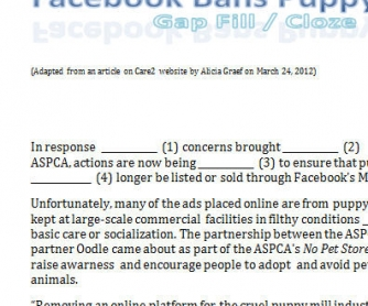 Facebook Bans Puppy Mill Ads - Gap fill / Cloze