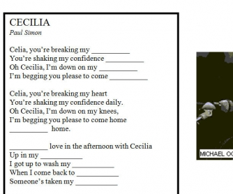 Song Worksheet: Cecilia by Simon and Garfunkel
