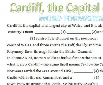 Cardiff, the Capital of Wales: Word Formation Worksheet