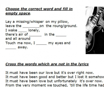 Song Worksheet: It Must Have Been Love by Roxette