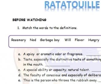 Ratatouille Movie Worksheet