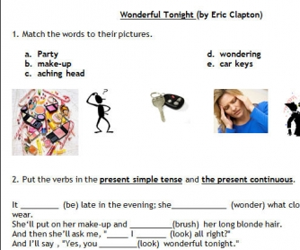 Song Worksheet: Wonderful Tonight by Eric Clapton [Alternative]