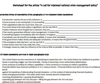 A Call For Improved National Сrisis Management Policy: Authentic Reading Worksheet