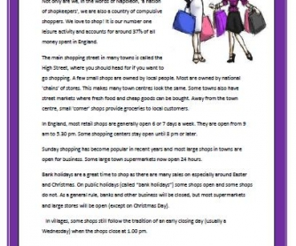 Shopping in England: Reading Worksheet