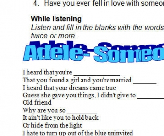 Song Worksheet: Someone Like You by Adele [Alternative V]