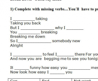 Song Worksheet: Outta My Head by Leona Lewis