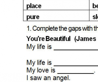 Song Worksheet: You're Beautiful by James Blunt