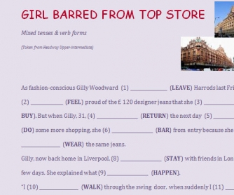 Girl Barred From Top Store [Mixed Tenses]