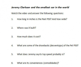 Top Gear Listening Comprehension: Jeremy Clarkson and the Smallest Car in the World