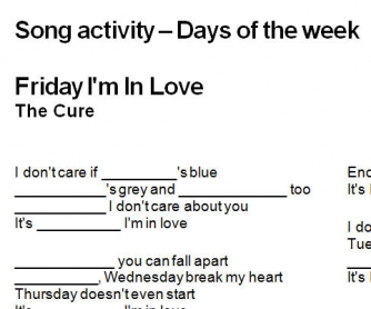 Song Worksheet: Friday I'm In Love by The Cure [Days of the Week]