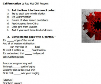 Song Worksheet: Californication by Red Hot Chili Peppers