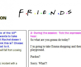 Video Worksheet: Friends - Ross and Rachel Take Emma to the Playground
