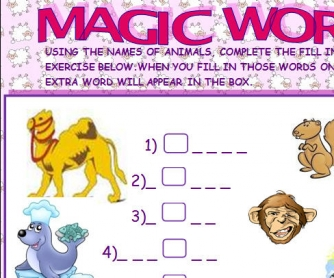 Magic Word: Animal Worksheet