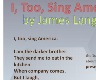 I, Too, Sing America: Poem by James Langston Hughes